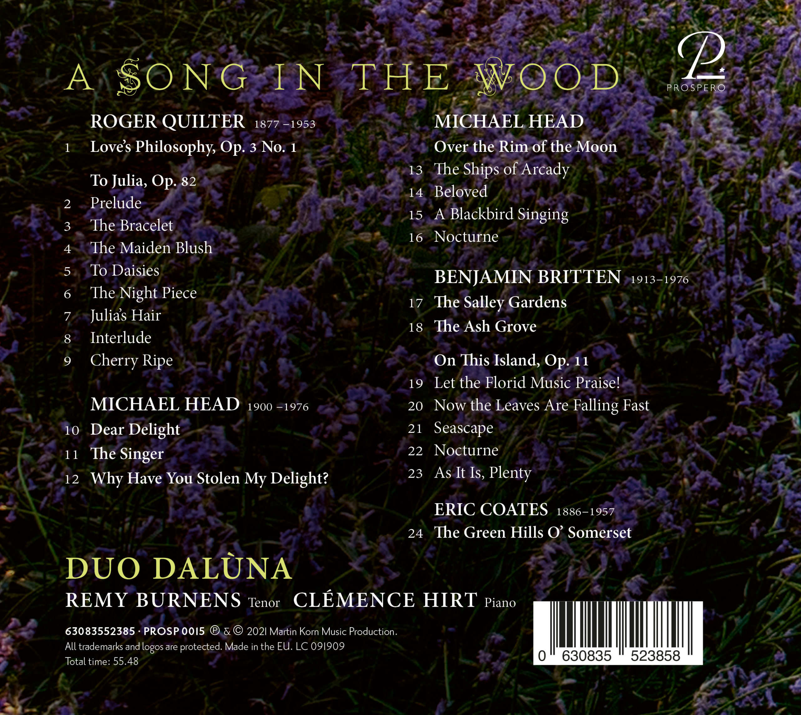 A Song in the Wood - Digipack Back